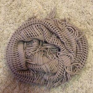 Tan shag infinity scarf